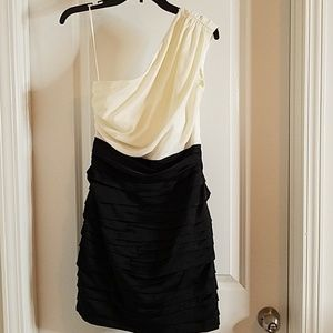 Express Black and White Rouched Dress